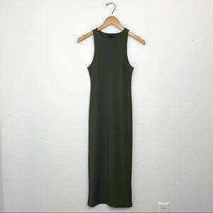 Topshop Hunter Green Ribbed Midi Dress